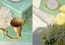 Buchet Mireasa Vintage cu dantela / Galben pai si galben soare