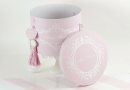 "Cutie carton rotunda trusou botez fetita stil baroc, in nuante de roz cu alb "" Alma """