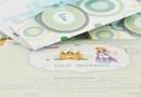 "Invitatie de Botez "" Baby F "" / Disponibl acum si pe www.c-store.ro / tematica Micul Print, Cromatica : verde menta, galben pai, baby blue"