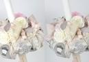 "Lumanare de Botez "" Blush"" / lumanare botez fetita cu imprimeu fashion, in nunate de roz pudra, si aplicatii din dantela, stil shabby chic"